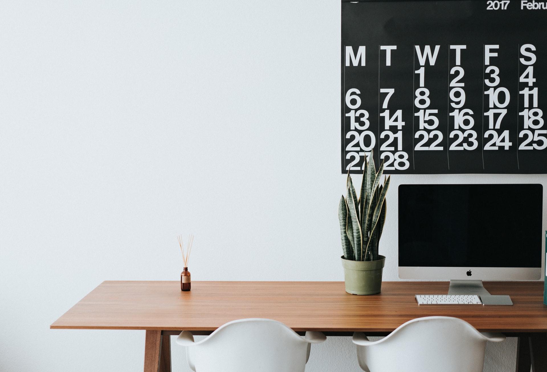 Clean minimalist office