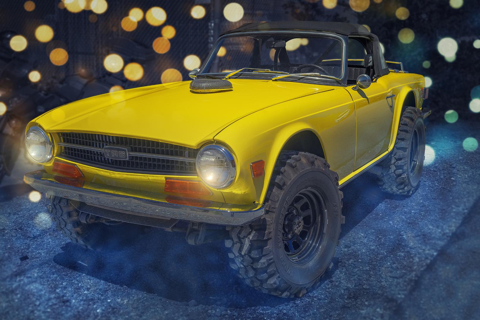 Yellow Classic Car Looks Great.